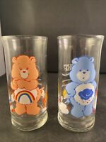 2 Vintage 1983 Pizza Hut Care Bears Glasses Grumpy Bear & Cheer Bear