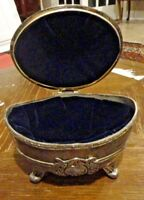 Metal Pewter Silver Toned Footed Ornate Jewelry Trinket Box Lined Blue Velvet
