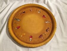 Vintage Toile Painted Metal Tray Round Mushroom