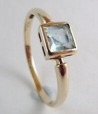 100% Genuine 9k Solid Yellow Gold Square 0.82 carats Topaz Ring Sz 8.5 US