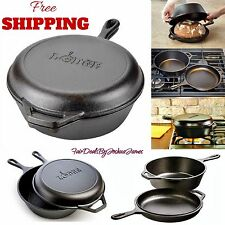 Cast Iron Dutch Oven Pre-Seasoned Combo Cooker Deep Skillet Lid 3.2-Quart New