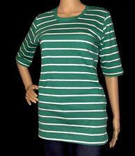Passports Women Green & White Striped 3/4 Short Sleeve Top Sz M