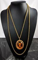 Etched Amber Glass Cameo Gold Tone Frame Necklace Trifari Jewellery