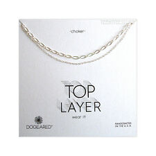 """Dogeared Top Layer Sterling Silver 2 Chain Double Choker Necklace 14"""" & 15"""" NEW"""