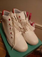 white and orange wedge sneakers size 8 true to the size 2 inch
