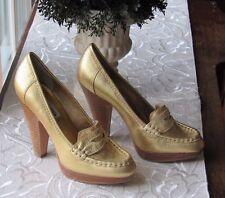 STEVE MADDEN Gold Genuine Leather Platform Heel Loafers SIze 6 NEW
