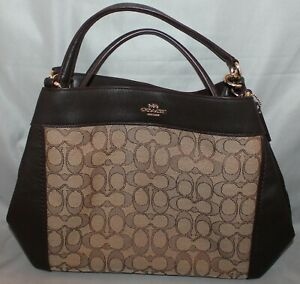 AUTHENTIC COACH LEXY SIGNATURE JACQUARD & LEATHER SHOULDER BAG HANDBAG PURSE