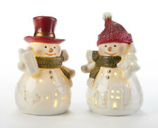 "Christmas / Holiday Light up  2 pc set 4""""LED Red Hat Snowman Teachers Gift"