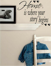 Quote: HOME IS WHERE YOUR STORY BEGINS wall sticker decor 12 decal inspirational