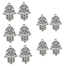 10 Pcs Antique Hamsa Hand of Fatima Necklace Anklet DIY Jewelry Accessory Charm