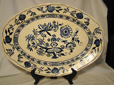 "American Centennial Graniteware Meissen Blue Onion Huge Deep Dish Platter 19"""