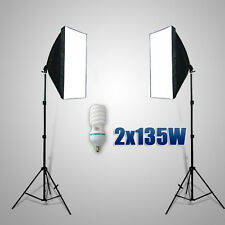 2X135W Photography Studio Softbox Continuous Lighting Soft Box Light Stand Kits