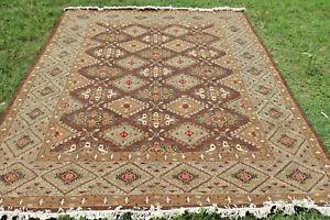Soumak Flat-Weave Geometric Turkish Kilim Afghan Oriental Area Rug 9x12 feet