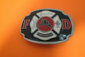 """Buckle Bakery Mens Pewter Fire Fighter Belt Buckle 3""""L x 2 1/4""""High"""