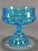 Vintage Blue Glass Thumbprint Pedestal Candy Dish Compote