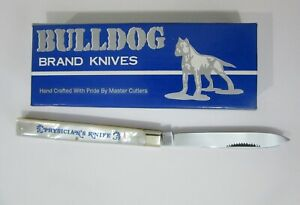 1996 BULLDOG PHYSICIAN'S PEARL KNIFE ETCHED BLUE NAME MATCHSTIRKER PULL MIB