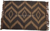 Indian Hand Woven Dhurrie Kilim Jute Floor Rug Decorative Vintage Carpet Runner