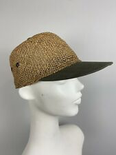 VTG Bailey L Large beige straw / green cotton baseball style hat mens cap hat
