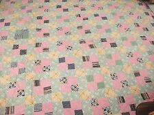 """Vintage Handmade Quilt Bow Tie Patchwork 74"""" x 83"""" Green Pink Yellow Brown"""
