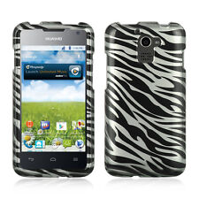 MetroPCS Huawei Premia M931 Rubberized HARD Snap Phone Cover Case Silver Zebra