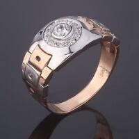 Rosegold Weissgold 14kt 585 Herrenring Siegel RING mit CZ Bewegliche Glieder Neu