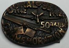 Coral Sea Commemoration Solid Bronze Belt Buckle Memorabillia USS Lexington