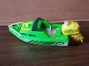 Vintage Green Yellow Speed Boat 1978 wind up Plastic  motor TOMY Excellent Shape