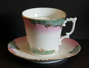 BEAUTIFUL PORCELAIN   MUSTACHE CUP MUG AND SAUCER PINK & GREEN WITH GILT