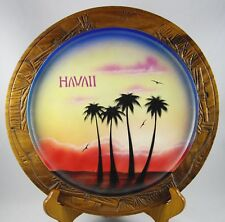 Hawaiian Palm Trees Sunset Wood Plate Souvenir Vintage Made in Hawaii