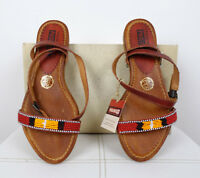 PIKOLINOS Tan Leather Beaded Sandals Size 6.5 / 7 US 37 EUR New NIB