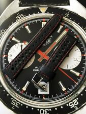 20mm Perforated Black Red Leather Watch Strap & Buckle For Heuer Autavia Corfam
