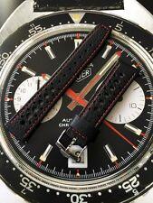 20mm Perforato Nero Rosso Cinturino in pelle & fibbia per HEUER AUTAVIA CORFAM