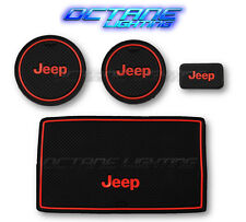 07-17 Jeep Wrangler Black Red Cup Holder Rubber Insert & Non Slip Console Mat