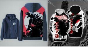 Godzilla Classic Graphic 3D Print Hoodie & Jacket Pullover Sweater Sweatshirt