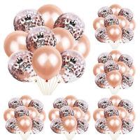 10PCS Rose Gold Glitter Balloons Foil Latex Crown Confetti Birthday Balloon