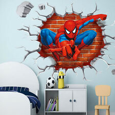 1x Kid Boys Bedroom Decor 3D Spiderman Wall Sticker Removable Mural Paper Decals