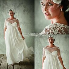White/Ivory Chiffon Wedding Dress Bridal Gown Custom Plus Size 18-20-22-24-26-28