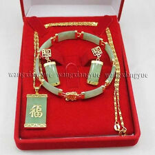 Fashion Natural Green Jade Inlay Link Bracelet earrings Necklace Pendant Set AAA