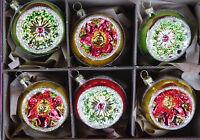 6er Set schöne Reflexkugeln Grün/Rot/Gold Rand 6cm Christbaumschmuck , Lauscha