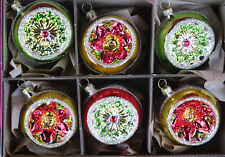 6er Juego Hermosa Reflexkugeln Verde/Roja / Dorado Borde 6cm