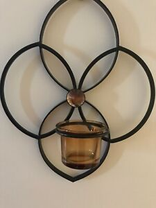 """Vintage Black Metal Sconce Holder Wall Hanger-Amber Votive Holder-10 1/2""""x 8"""""""