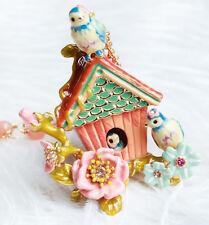 Collier Pendantif Email Perroquet Bleu Cage Oiseau Rose Floral Feuille Mignon L7