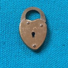 VINTAGE Brass English Heart Padlock CHARM