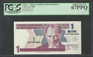 Turkey One Lira 2005 P216 Uncirculated Graded 67