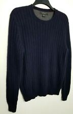 BLOOMINGDALES 100% PURE CASHMERE MENS JUMPER SWEATER M NAVY BLUE THICK KNIT 029