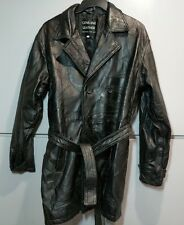 Women's Leather Button Up Trench Coat Patchwork Look with Belt Size M