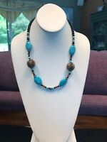 Vintage Turquoise Stone Bohemian Glass Beaded Bib Statement Necklace
