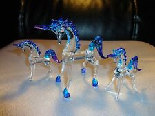 Set of 3 Unicorns Purple Blue Clear Figurine of Blown Glass Crystal