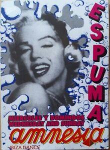 """Amnesia ibiza espuma """"foam party"""" 1995 club rave flyer"""