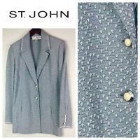 "St John Collection Marie Gray Blazer Jacket 8 Medium Santana Knit Blue   """